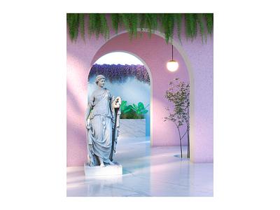 Flora architecture interior design interior space b3d blender3d blender cycles render 3d art 3d rendering plants nature statue godess flora
