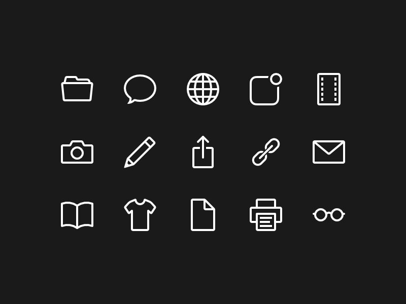 Media Icons application glyphs icons media