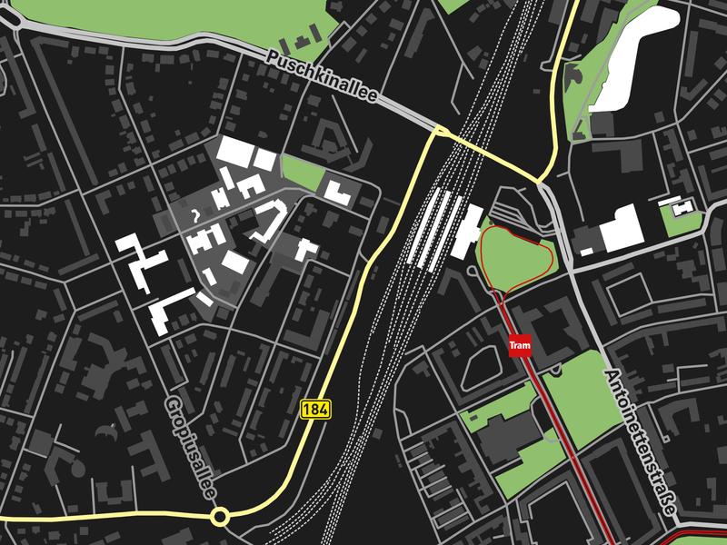 Map print dessau openstreetmap dark map