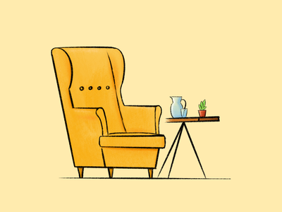 Yellow Armchair sketch procreate ipad drawing illustration plant table strandmon ikea armchair yellow