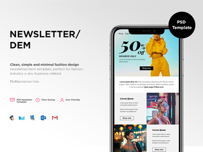 • MVP-Newsletter/Dem clean desktop mobile user friendly interface interface design uidesign email fashion design newsletter template newsletter design