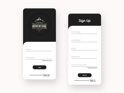#dailyui #001 adventure white black login signup uiux uidesign
