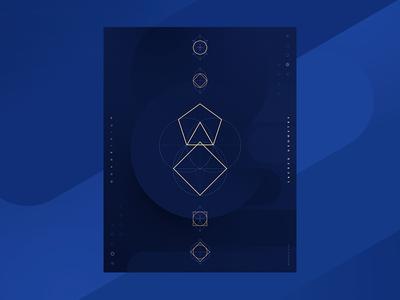 Quadrivium. Sacred Geometry. blue geometry quadrivium design poster