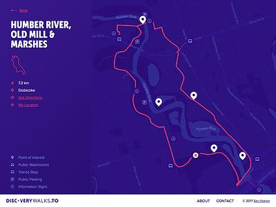DiscoveryWalks.TO clean blue dark toronto walk urban trail map