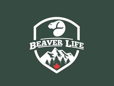 Beaver Life Logo logodesign branding shield canada maple mountain tree