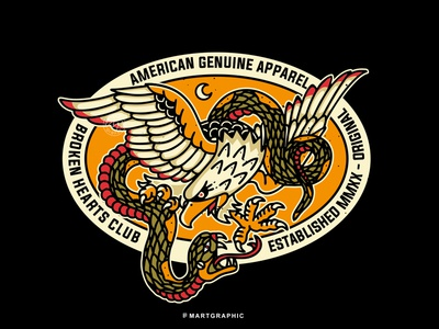 EAGLE SNAKE streetwear branding identity vector graphic apparel design logo clothing tattoo design traditional art