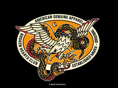 EAGLE SNAKE streetwear branding identity vector graphic apparel design logo clothing tattoo design traditional art