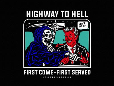 Highway To Hell flat streetwear skull artwork art vector apparel graphic design illustration logo clothing