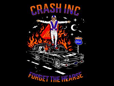 Forget The Hearse logo tshirtdesign burningman stuntman hearse branding artwork illustration streetwear vector graphic apparel design clothing