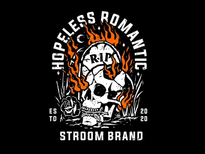 Hopeless Romantic logo streetwear vector artwork graphic illustration design apparel skull art skull clothing