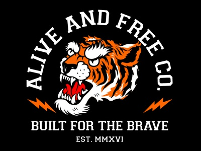 Alive and Free Co. branding artwork flat streetwear identity graphic illustration apparel design tiger clothing