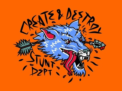 Create And Destroy branding flat streetwear identity vector design apparel graphic wolf logo clothing