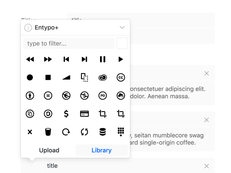 Icon Picker minimal ui webapp editor picker icons