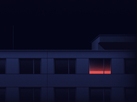 2:07 am apartment night light blinds windows building empty neon colors midnight dark melancholy illustration