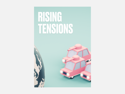 Rising Tensions minimalist climate change poster 3d illustration