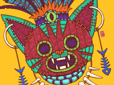 The Cat Mask (close-up) colorful illustration vudee african mayan hatching ink drawing inking cat mask art illustration tribal mask cat mask tribal