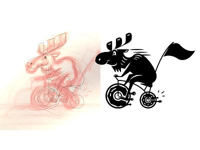 Tricycle Moose illustrator adobe process sketch vector illustration moose tricycle