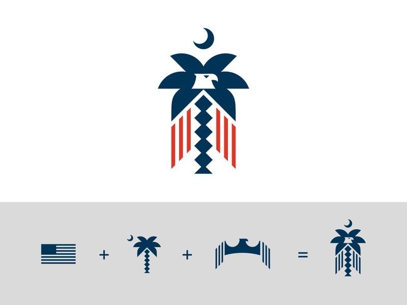 Palmetto Process identity design flag eagle palmetto illustration vector process branding identity logo icon