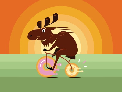 Tricycle Moose Cont. colors tricycle vector illustration doughnut moose