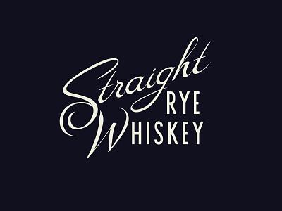 Straight Rye vector spirits whiskey script type lettering