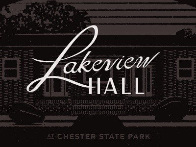Lakeview Hall logo outdoors state park brand development design texture lettering branding vector illustration typography