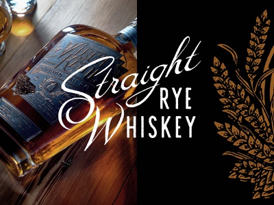 Straight Rye spirits script lettering illustration packaging design packaging rye whiskey label design label