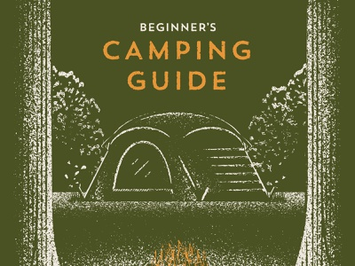 Camping Guide nature campfire outdoors trees tent camping vector texture illustration