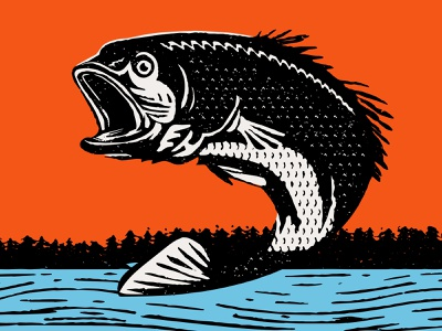 Large Mouth outdoors style bass fishing fish design texture vector illustration