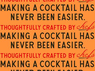 Crafted Type & Cocktails custom script design texture vector typography type