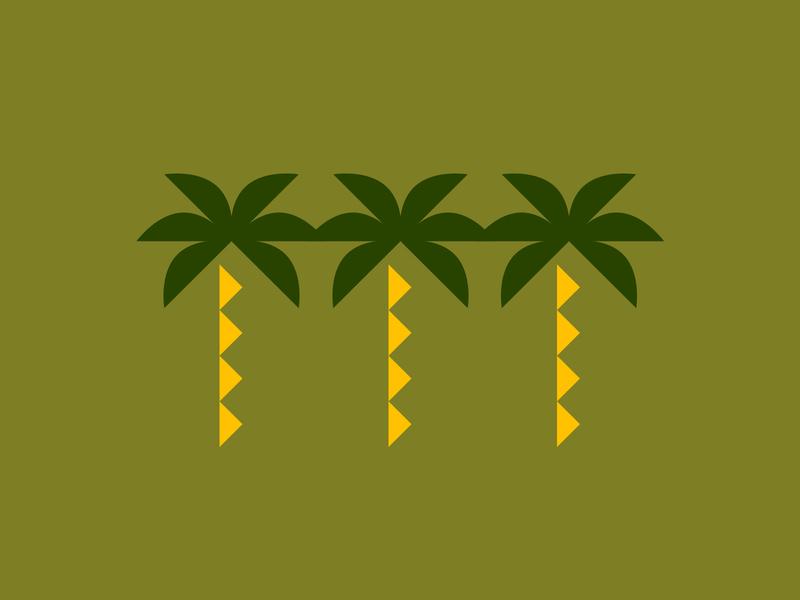 Coastal View pt.2 icon artwork shapes tropical beach coast coastal trees palm icon illustration design