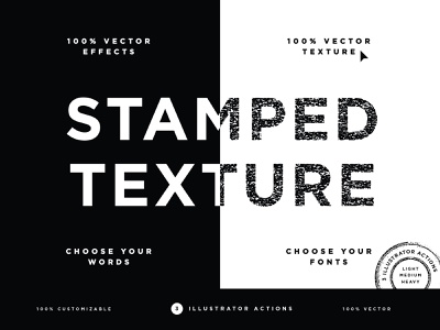 Vector Stamped Texture effect font product add-on illustrator adobe vector action stamp design postage ink stamp texture type typography