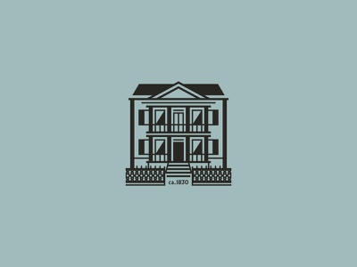 Old House vector building ironwork fence historic branding illustration house icon