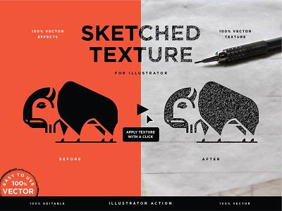 Vector Sketched Texture sketchbook effect creative market sketch adobe illustrator add-on action vector texture illustration branding lettering type typography