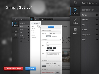 Admin Panel — Pages ui interface panel admin browser design edit settings content pages manage update