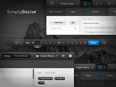 Admin Panel — Menu New Ideas ui interface panel admin menu drop down tags search button mountain edit manage