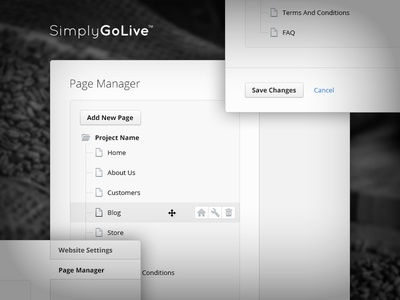 Admin Panel — Page Manager manage pages content settings edit panel interface ui home icons page