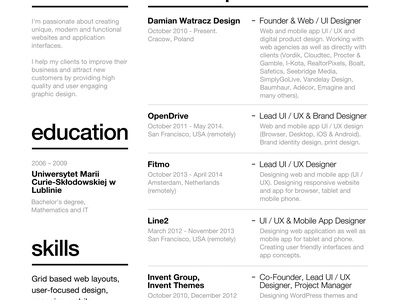 Swiss Style Resume 2014 resume swiss 2014 cv about experience education paper print grid curriculum vitae