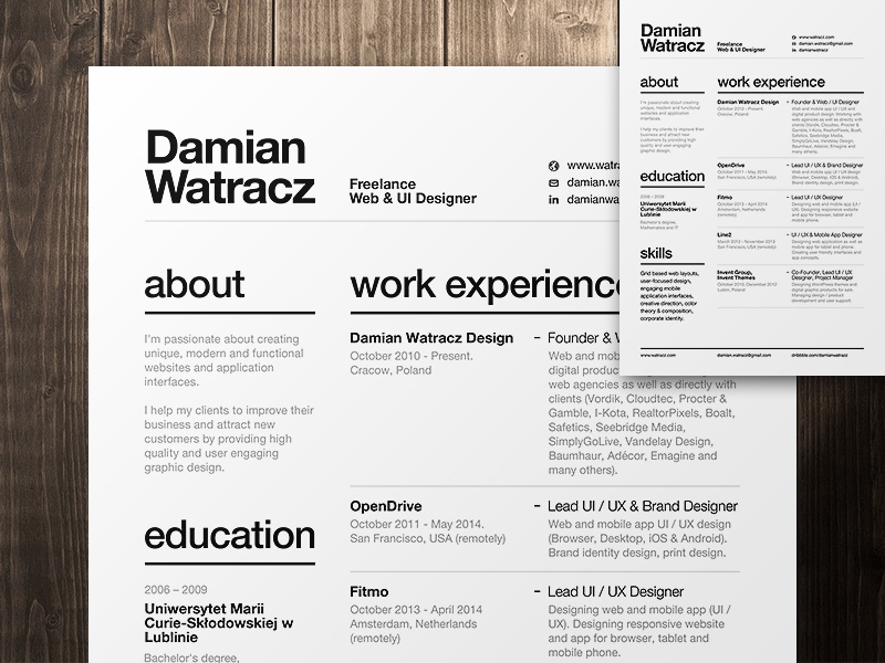 swiss style resume 2014 by damian watracz dribbble