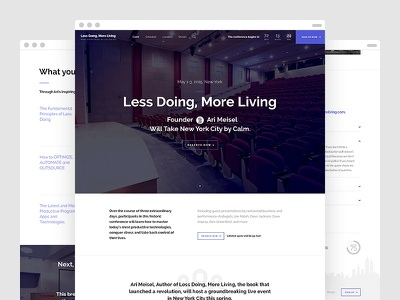 Less Doing, More Living — Home Page website minimalistic hero conference speaking event speakers faq agenda schedule countdown new york
