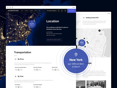 Less Doing, More Living — Location Page website conference event agenda location map new york night lights transport venue