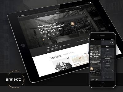 Project Kazimierz — Home Page texture podcast trailer grid mobile logo dark responsive website kazimierz project