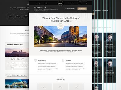 Project Kazimierz — About Us Page krakow about grid team features timeline marketing ui design web branding website