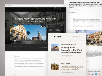 Project Kazimierz — Post Page header mobile responsive krakow podcast video post website quote sidebar ui