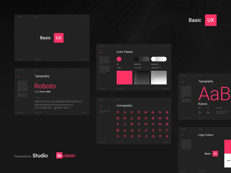 Basic UX — style guide style guide user interface ui kit outline icons outline icons minimal system symbols kits dark ui dark freebies freebie free ux ui invision studio invisionstudio invision