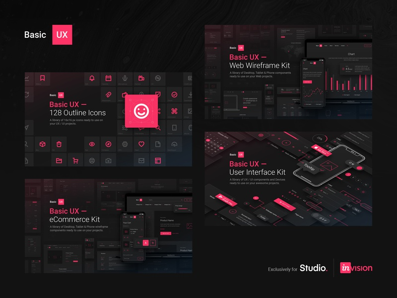 Basic UX — products cover images hero cover ui kit outline icons outline icons minimal system symbols kits dark ui dark freebies freebie free ux ui invision studio invisionstudio invision