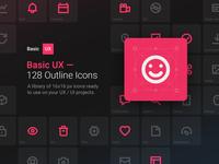 Basic UX — 128 Outline Icons free icons ui kit outline icons outline icons mockup minimal system symbols kits dark ui dark freebies freebie free ux ui invision studio invisionstudio invision