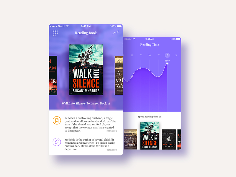 #35 Record for book lovers ui curve record violet app ui read book