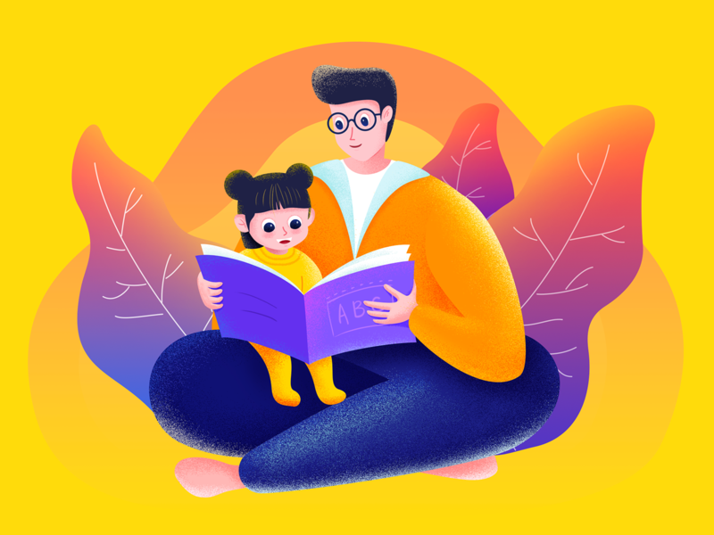 Read for my baby father girl illustration dad book baby