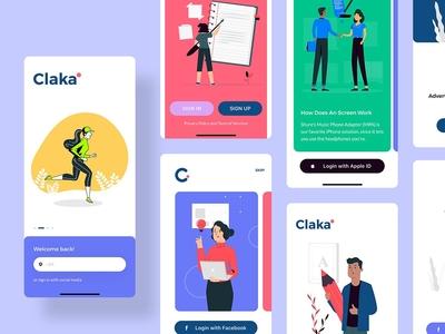 Claka Walkthroughs Screen 02 ui template sketch website minimal kit ios claka walkthroughs design app