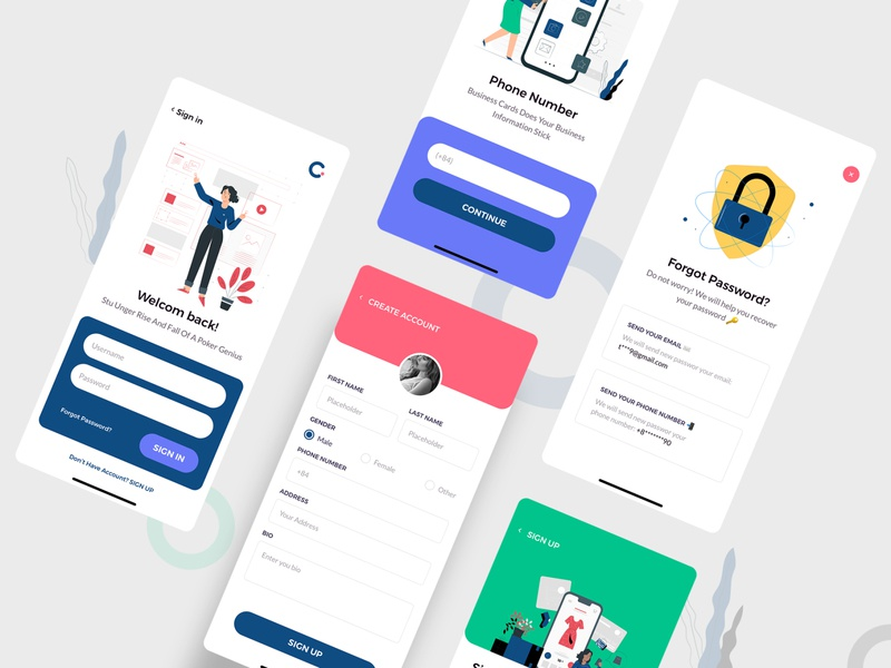 Claka Form 01 sketch minimal design template kit ui app mobile claka